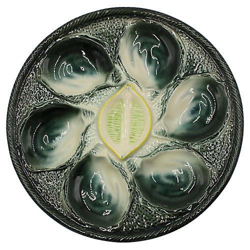 French Majolica Oyster Plate w/ Lemon