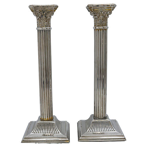 Antique English Column Candlesticks