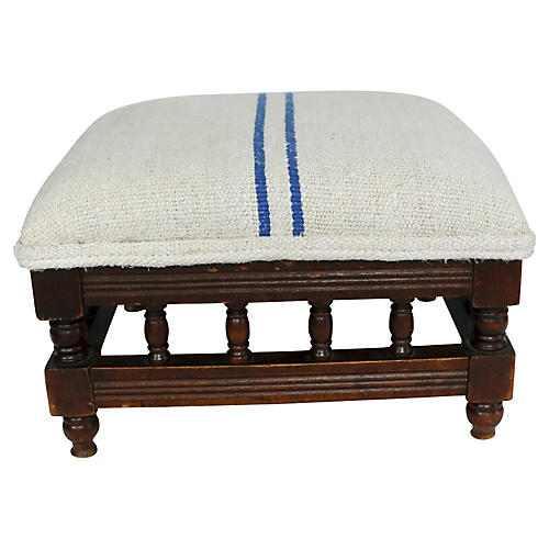 Antique Footstool w/ Grain Sack Cushion