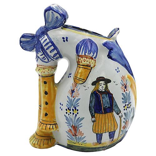1920s Quimper Bagpipe Vase