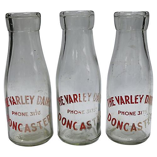 English Glass Pint Milk Bottles, S/3
