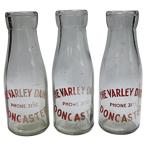 English Glass Pint Milk Bottles, S/3