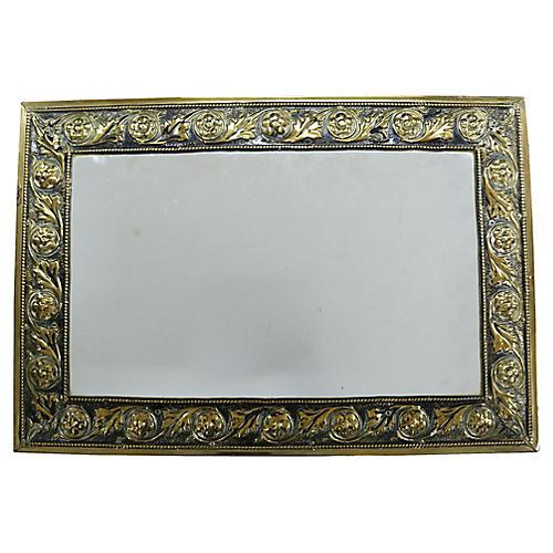 Antique English Brass Mirror