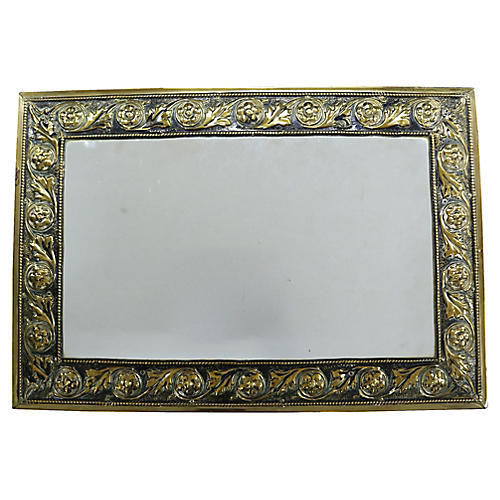 Antique English Brass Mirror