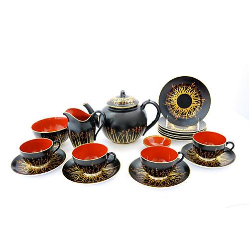 Art Deco Royal Worcester Tea Set, 18 Pcs
