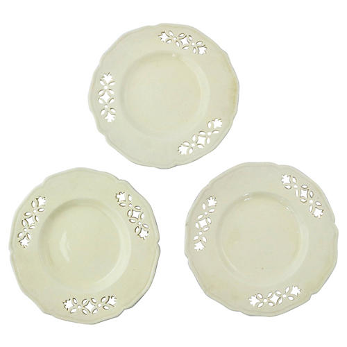 English Creamware Nut Dishes, S/3