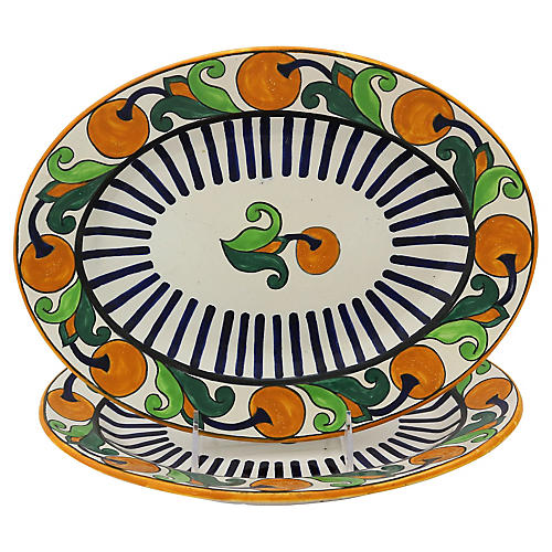 1920s French Quimper Platters, Pair