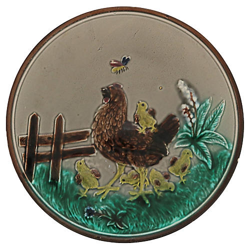 French Majolica Rooster Wall Plate