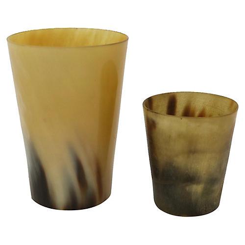 Antique English Horn Stirrup Cups, Pair