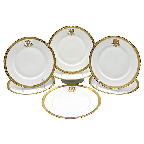Antique Limoges Monogrammed Set, 7 Pcs