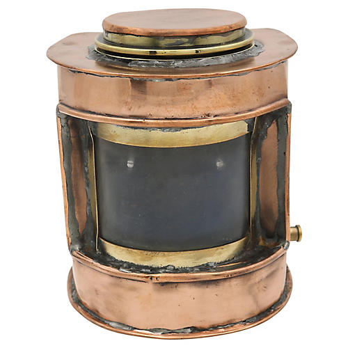 Antique English Copper Nautical Lantern
