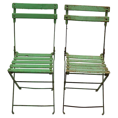 Mid-Century French Bistro Chairs, Pair
