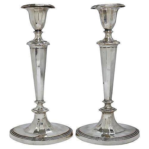 Pair 1830s English Georgian Candlesticks