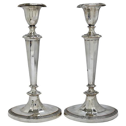 Pair 1830s English Georgian Candlesticks