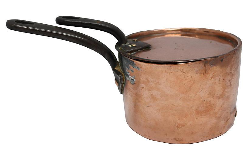 Antique Heavy Hotelware Copper Saucepan
