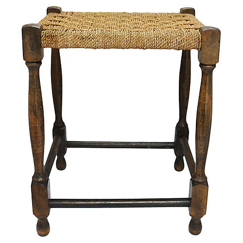 Antique English Handwoven Rope Stool