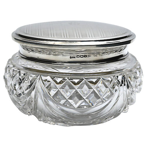 "English Sterling Monogram ""C"" Vanity Jar"