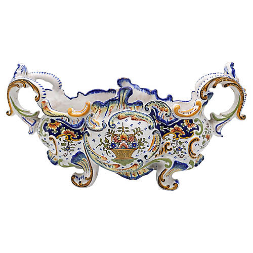 Antique French Faience Rouen Jardiniere