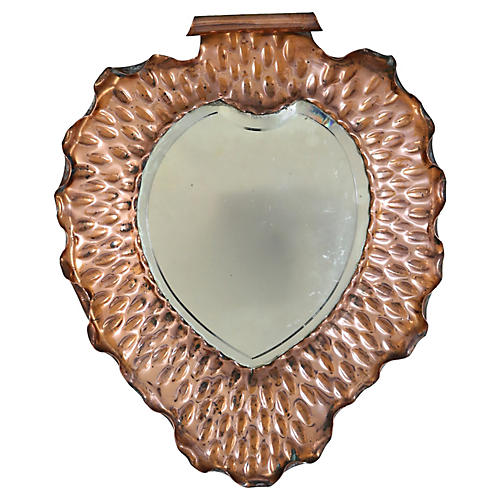 Antique Arts & Crafts Copper Mirror