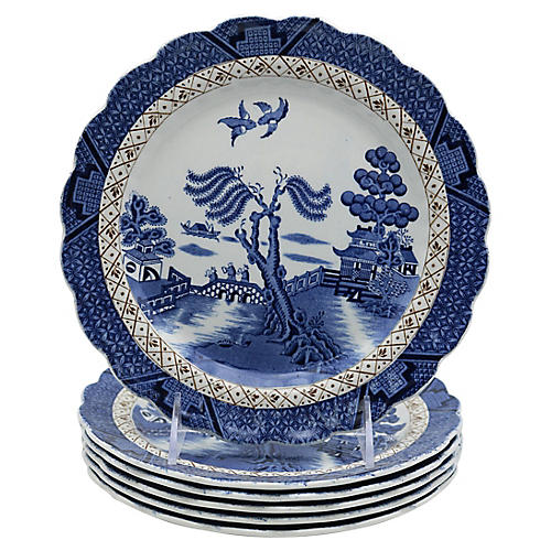 English Willow Dessert Plates, S/6