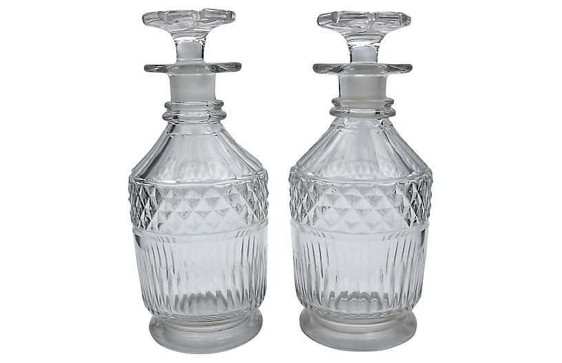 18th-Century George III Decanters, Pair