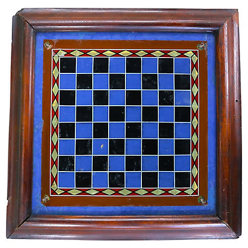 Antique Reverse Painted Glass Game Board