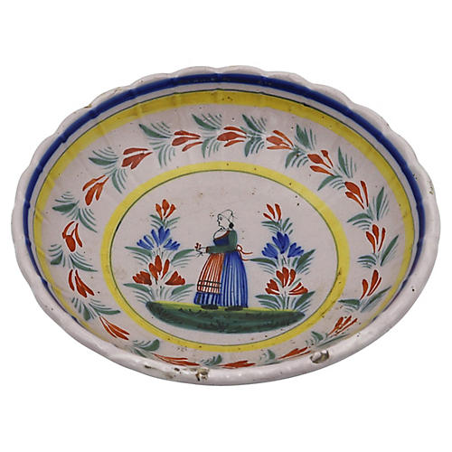1920s French Quimper Serving Bowl