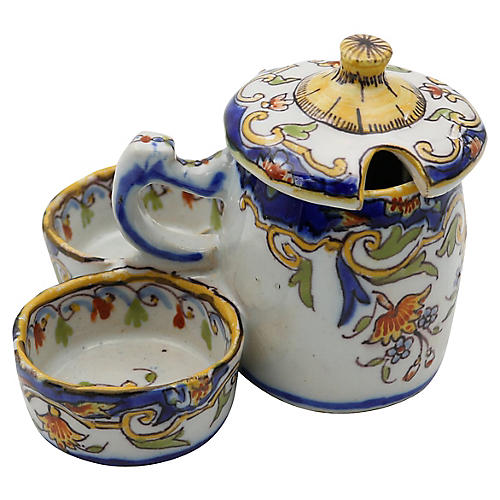 French Faience Salt, Pepper, Mustard Set