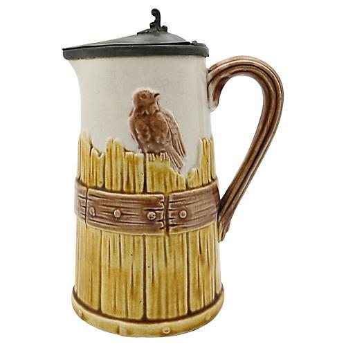 Antique Majolica Bird Syrup Pitcher