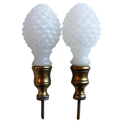 Antique Opal Newel Post Finials, Pair