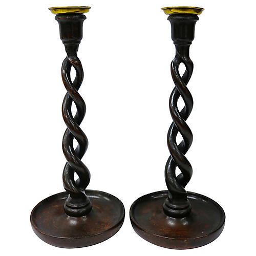 Antique Oak Open Twist Candlesticks,Pair