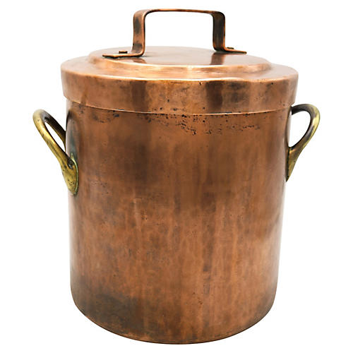 Antique French Copper Stew Pot