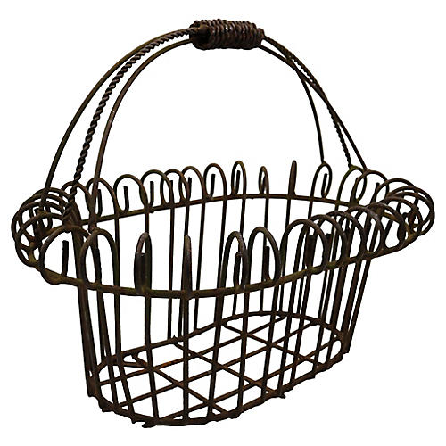 French Metal Garden Basket