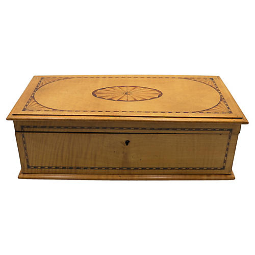 English Satin Wood Arts & Crafts Box