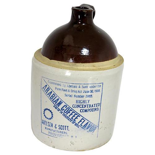 Antique Stoneware Coffee Flavor Jug