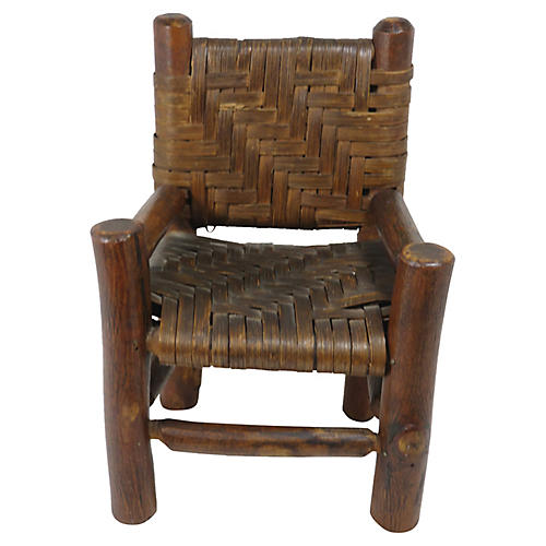 Antique Minature Adirondack Log Chair