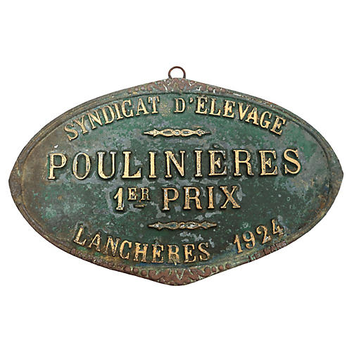 1924 French 1st Place Horse/Mare Plaque