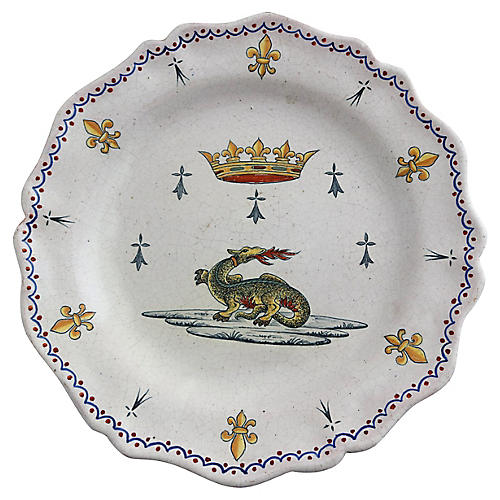 Antique French Faience Charger w/Crown