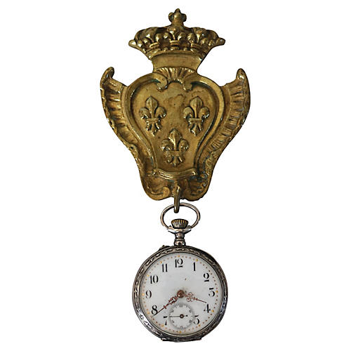 Antique French Watch Holder & Watch, 2Pc