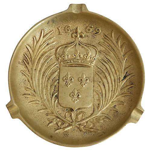 French Signed Bronze Armorial Ashtray