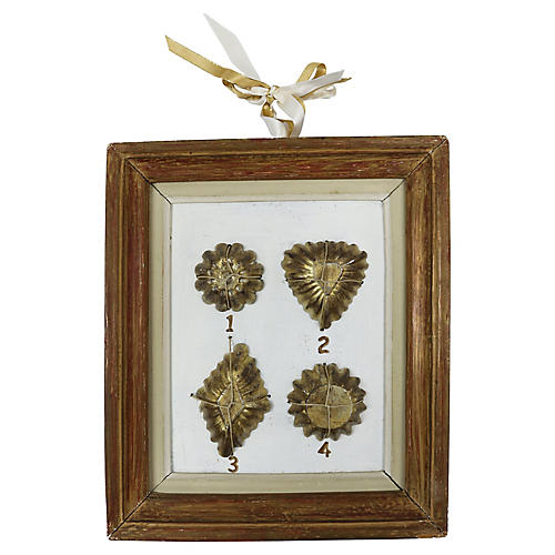 Framed Antique French Chocolate Molds