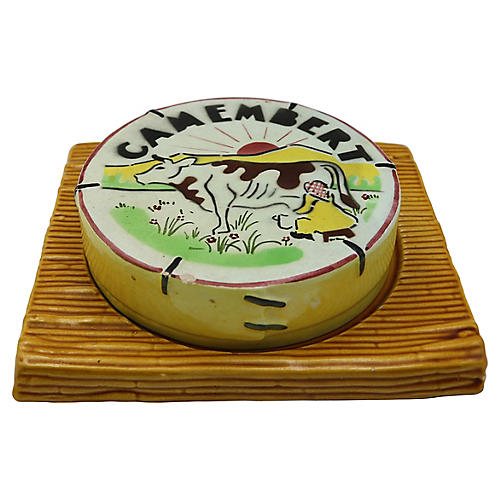 French Majolica Covered Cheese Dish