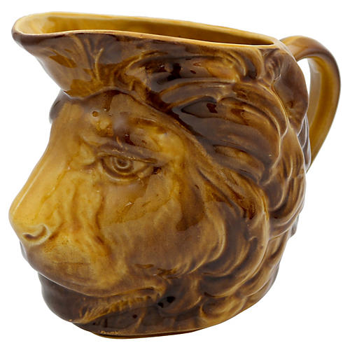 French Majolica Lion's Head Pitcher