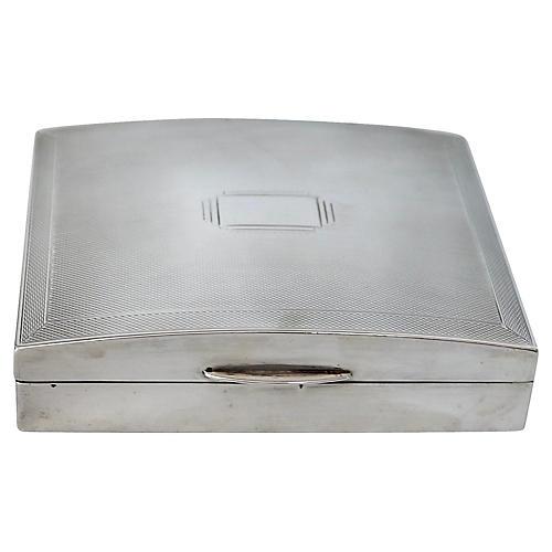 1940 Deco English Sterling Cigarette Box