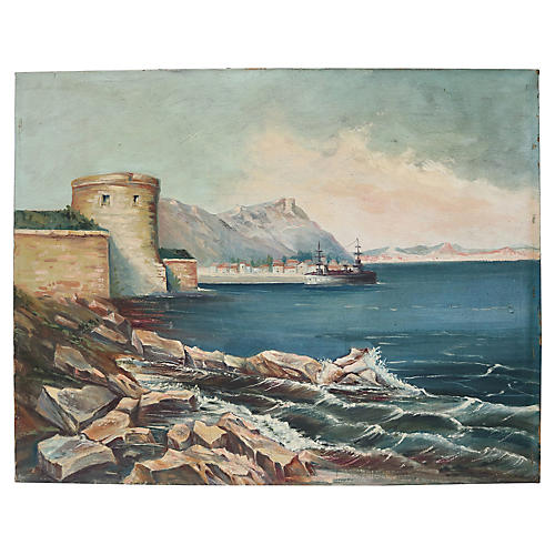 French Seaside Coastline Oil Painting