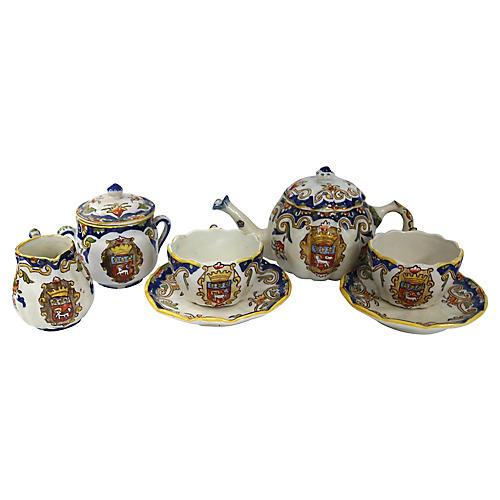 Antique French Faience Tea Set, 7 Pcs