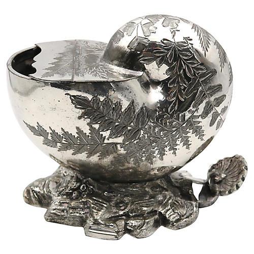 Silver-Plate Figural Shell Spoon Warmer