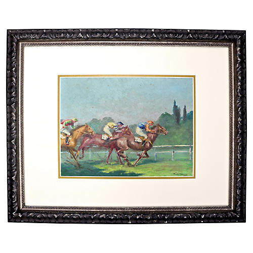 French Harness Racing Oil Painting