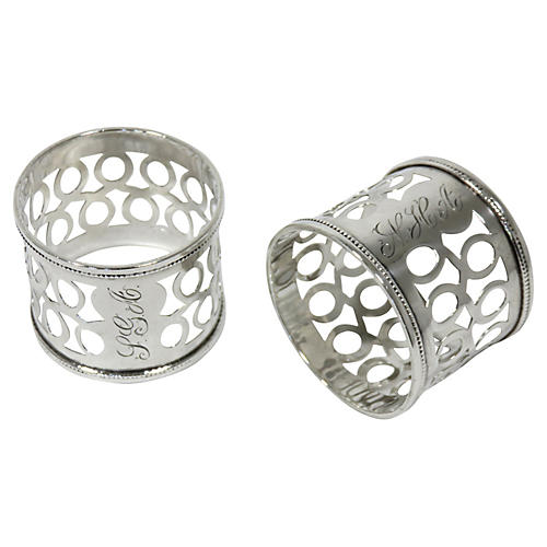Antique Sterling Napkin Rings, Pair