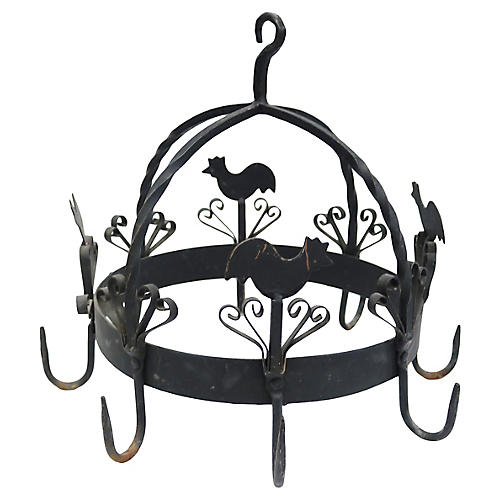 French Wrought Iron Hanging Pot Rack